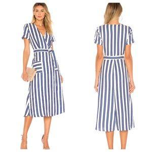 L'Academie Tuscy Midi Dress in Ocean Blue Stripe